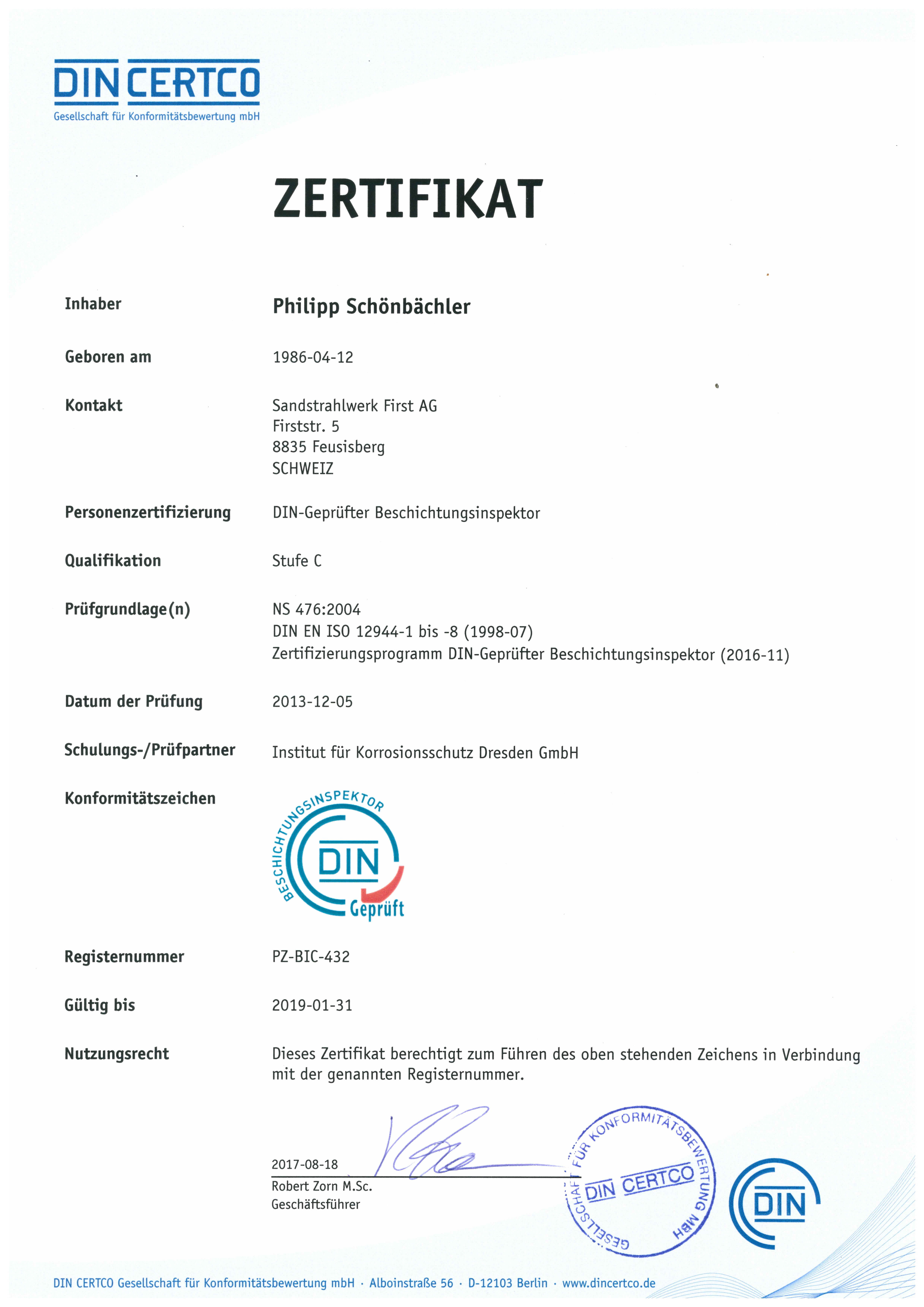 Sandstrahlwerk First, 8835 Feusisberg - Zertifikate Philipp ...
